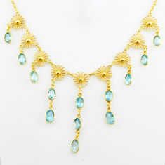 28.60cts natural blue topaz 925 sterling silver 14k gold necklace jewelry p75050