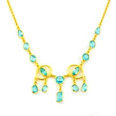 32.86cts natural blue topaz 925 sterling silver 14k gold necklace jewelry p91689