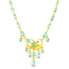 46.25cts natural blue topaz 925 sterling silver 14k gold necklace jewelry p91720