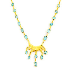 40.54cts natural blue topaz 925 sterling silver 14k gold necklace jewelry p91736
