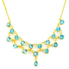 35.26cts natural blue topaz 925 sterling silver 14k gold necklace jewelry p91747