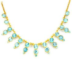 47.15cts natural blue topaz 925 sterling silver 14k gold necklace jewelry p91767