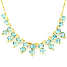 54.78cts natural blue topaz 925 sterling silver 14k gold necklace jewelry p91771