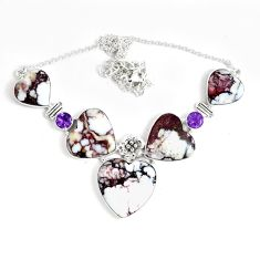 89.58cts natural bronze wild horse magnesite amethyst 925 silver necklace p47404