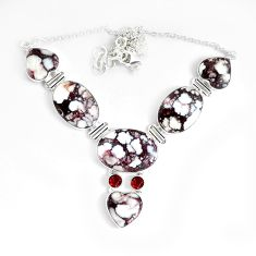 80.33cts natural bronze wild horse magnesite garnet 925 silver necklace p47402
