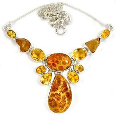 Natural brown ammonite fossil pear citrine 925 sterling silver necklace j13342