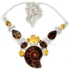 Natural brown ammonite fossil smoky topaz citrine 925 silver necklace j13321