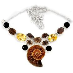 Natural brown ammonite fossil smoky topaz citrine 925 silver necklace j13324