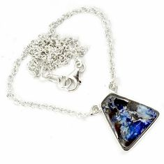 Natural brown boulder opal 925 sterling silver necklace jewelry h70218