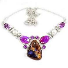 Natural brown boulder opal copper turquoise amethyst 925 silver necklace j13355