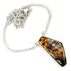 Natural brown boulder opal fancy 925 sterling silver necklace jewelry h70216