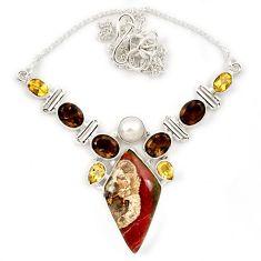 Natural brown mushroom rhyolite smoky topaz pearl 925 silver necklace j13325