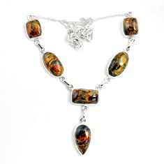 50.14cts natural brown pietersite (african) 925 sterling silver necklace p69690