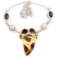 Natural brown septarian nodules (dragon stone) topaz 925 silver necklace j13331
