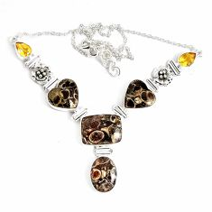 74.76cts natural brown turritella fossil snail agate 925 silver necklace p47629