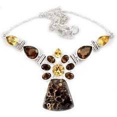 Natural brown turritella fossil snail agate topaz 925 silver necklace j13322