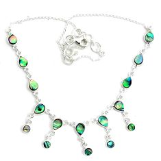 16.81cts natural green abalone paua seashell 925 sterling silver necklace p44502