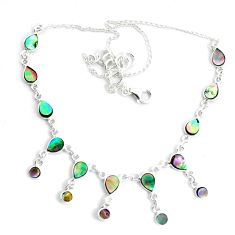 16.81cts natural green abalone paua seashell 925 sterling silver necklace p44503