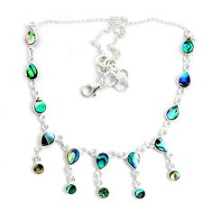 16.81cts natural green abalone paua seashell 925 sterling silver necklace p44505