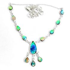 19.43cts natural green abalone paua seashell 925 sterling silver necklace p44506