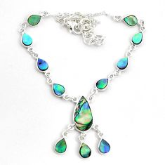 18.98cts natural green abalone paua seashell 925 sterling silver necklace p44508