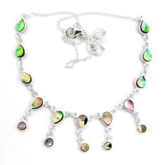 15.79cts natural green abalone paua seashell 925 sterling silver necklace p44509