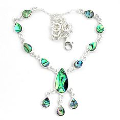 19.86cts natural green abalone paua seashell 925 sterling silver necklace p44511