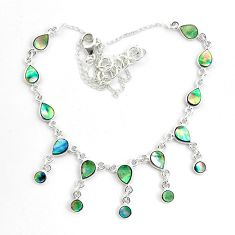 15.50cts natural green abalone paua seashell 925 sterling silver necklace p44512