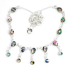 15.15cts natural green abalone paua seashell 925 sterling silver necklace p44513