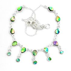 16.42cts natural green abalone paua seashell 925 sterling silver necklace p44515