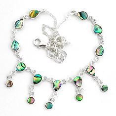 16.03cts natural green abalone paua seashell 925 sterling silver necklace p44519