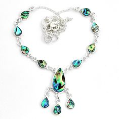15.33cts natural green abalone paua seashell 925 sterling silver necklace p44520