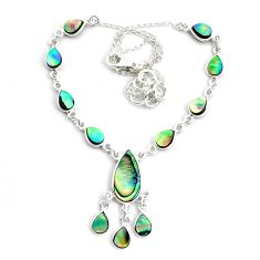20.54cts natural green abalone paua seashell 925 sterling silver necklace p44537