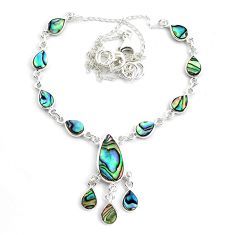 18.98cts natural green abalone paua seashell 925 sterling silver necklace p44538