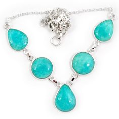 Natural green amazonite (hope stone) 925 sterling silver necklace jewelry j10327