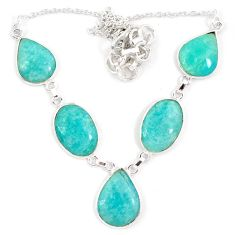 Natural green amazonite (hope stone) 925 sterling silver necklace jewelry j10332