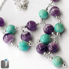 NATURAL GREEN AMAZONITE (HOPE STONE) AMETHYST 925 SILVER BEADS NECKLACE G16872