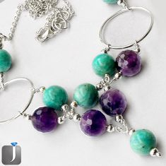 63.27CT NATURAL GREEN AMAZONITE (HOPE STONE) AMETHYST 925 SILVER NECKLACE G16873