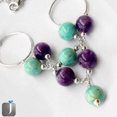 63.27CT NATURAL GREEN AMAZONITE (HOPE STONE) AMETHYST 925 SILVER NECKLACE G16874