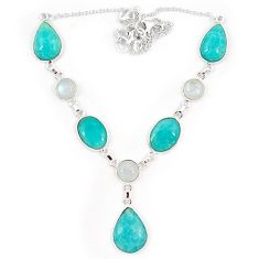Natural green amazonite (hope stone) moonstone 925 silver necklace j10333