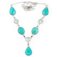 Natural green amazonite (hope stone) moonstone 925 silver necklace j10335