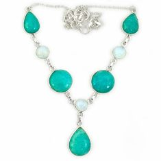 Natural green amazonite (hope stone) moonstone 925 silver necklace jewelry j2341
