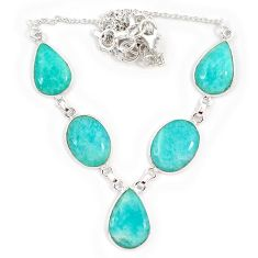 Natural green amazonite (hope stone) pear oval 925 silver necklace j10330