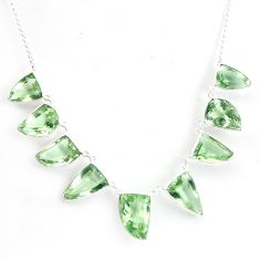 57.68cts natural green amethyst 925 sterling silver necklace jewelry p43774