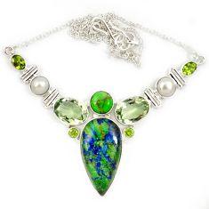 Natural green azurite malachite chrysocolla amethyst 925 silver necklace j13339