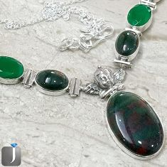 NATURAL GREEN BLOODSTONE EMERALD QUARTZ BABY WING 925 SILVER NECKLACE F40399