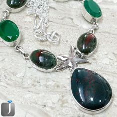 NATURAL GREEN BLOODSTONE EMERALD QUARTZ STARFISH 925 SILVER NECKLACE F40387