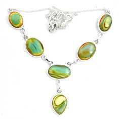 56.39cts natural green imperial jasper 925 sterling silver necklace p70778