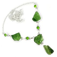 Natural green moldavite (genuine czech) peridot 925 silver necklace h70214
