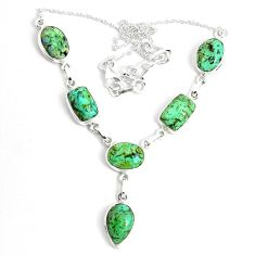 45.08cts natural green norwegian turquoise 925 sterling silver necklace p69720